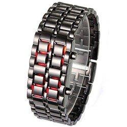 سباكير ساعة ستانليس اسود بارقام SPAW002 احمر LED