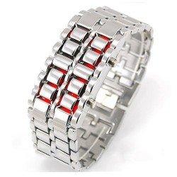 سباكير ساعة ستانليس فضي بارقام SPAW002 احمر LED