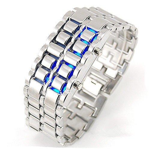 سباكير ساعة ستانليس فضي بارقام SPAW002 ازرق LED